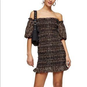 NWT- TOPSHOP Leopard Print Off the Shoulder Dress